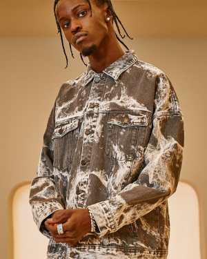 Mens Grey Oversized Washed Denim Jacket, Grey