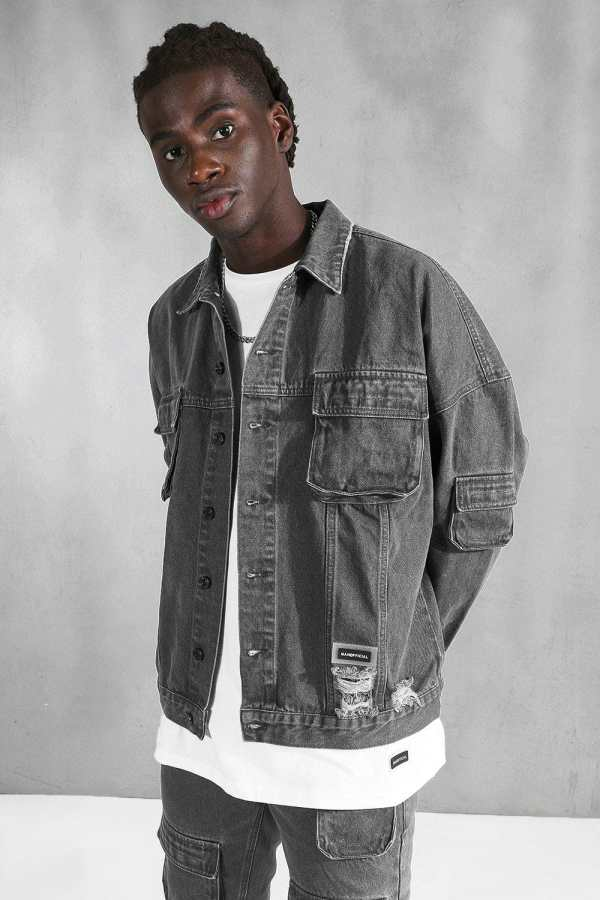 Mens Grey Utility Pocket Oversized Denim Jacket, Grey