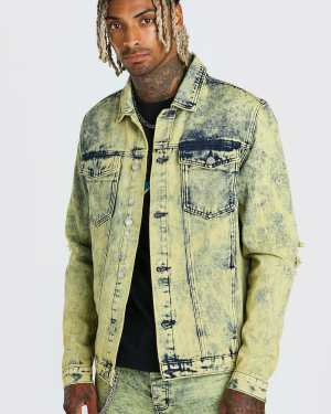 Mens Yellow Overdyed Denim Jacket With Rips And Zip Cuffs, Yellow