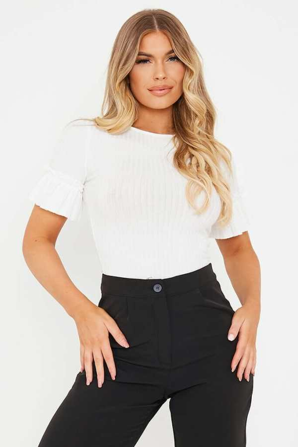 White Ribbed Frill Sleeve Top - 14 / WHITE