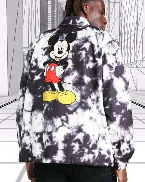 Mens Black Disney Mickey MAN Official Tie Dye Coach Jacket, Black