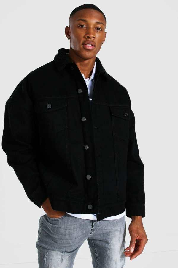 Mens Black Oversized Borg Lined Denim Jacket, Black