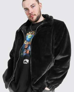 Mens Black Plus Size Faux Fur Collared Bomber Jacket, Black