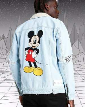 Mens Blue Disney Mickey Denim Jacket With Borg Collar, Blue