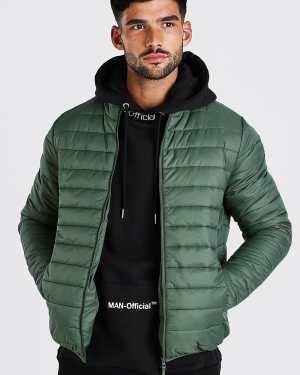Mens Green Foldaway Padded Jacket With Bag, Green