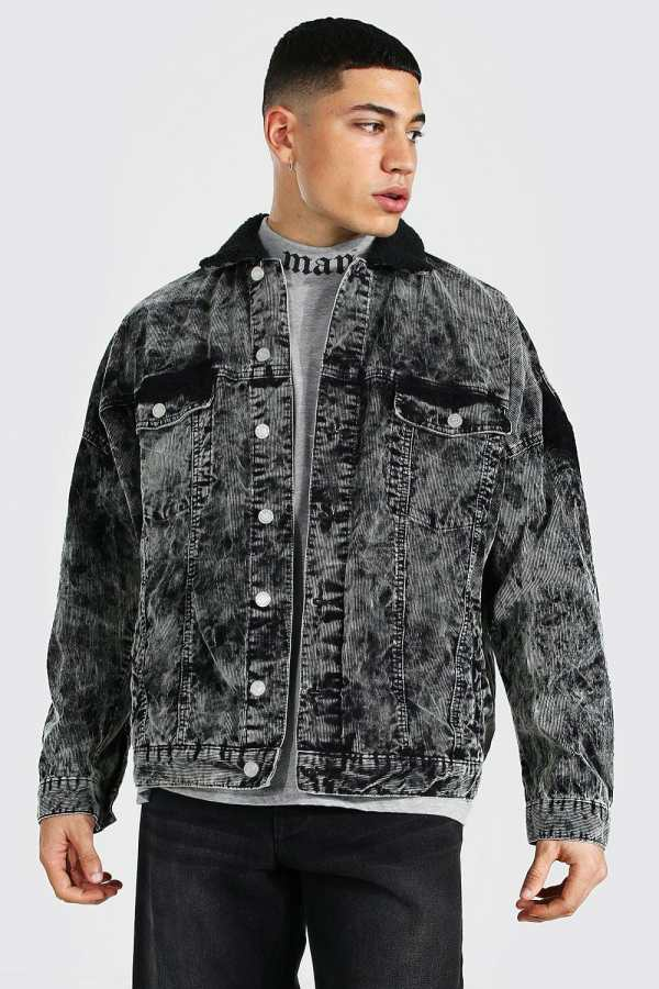 Mens Grey Oversized Acid Wash Cord Borg Collar Jacket, Grey