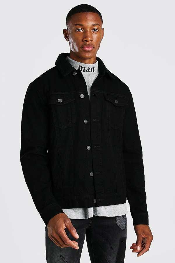 Mens Regular Denim Jacket With Black Borg Collar, Black
