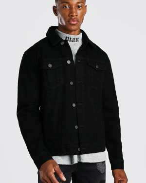 Mens Regular Denim Jacket With Black Borg Collar, Black
