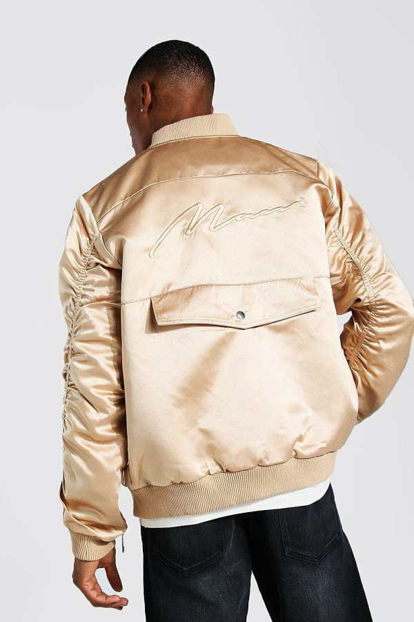 Mens Brown Zip Detail Bomber Jacket With Man Embroidery, Brown