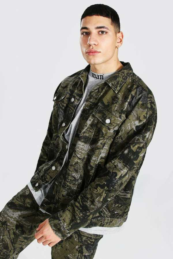 Mens Green Oversized Camo Print Cord Jacket, Green