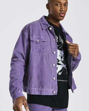 Mens Purple Boxy Fit Cord Jacket, Purple