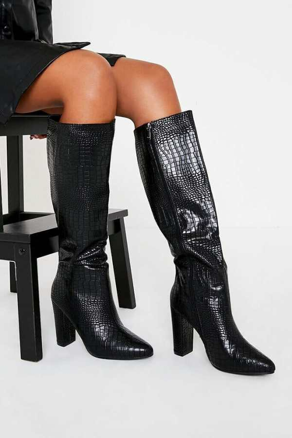 Black Block Heel Knee High Croc Print Boot - 4 / BLACK