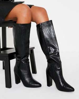 Black Block Heel Knee High Croc Print Boot - 4 / BLACK