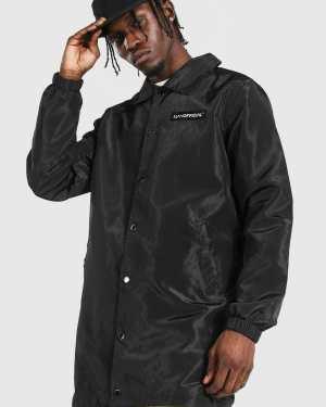 Mens Black MAN Official Branded Nylon Longline Coach Jacket, Black