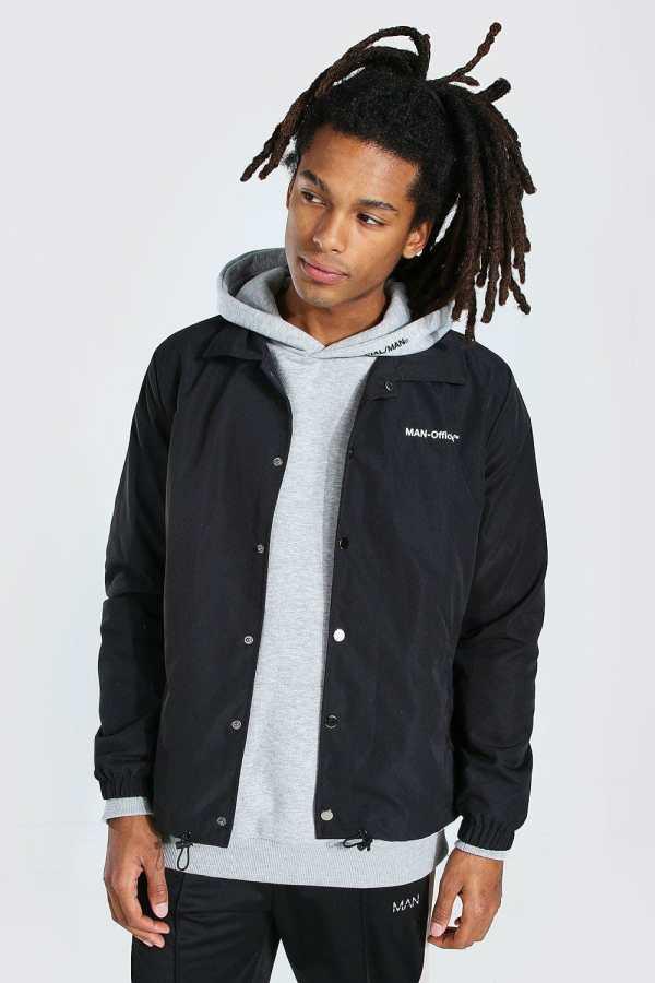 Mens Black MAN Official Branded Woven Coach Jacket, Black