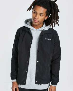Mens Black MAN Official Branded Woven Coach Jacket, Black