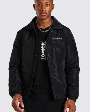 Mens Black MAN Official Nylon Coach Jacket, Black