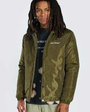 Mens Green MAN Official Nylon Coach Jacket, Green