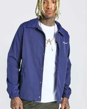 Mens Navy MAN Official Branded Woven Coach Jacket, Navy