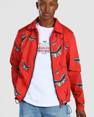 Mens Red Butterfly Coach Jacket, Red