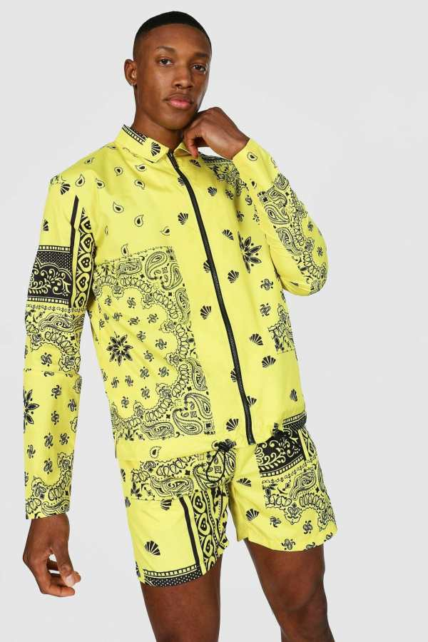 Mens Yellow Bandana Coach Jacket, Yellow