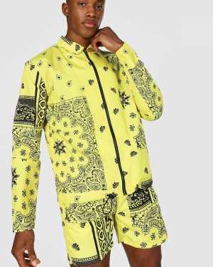 Mens Yellow Bandana Coach Jacket, Yellow
