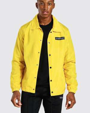 Mens Yellow MAN Official Branded Nylon Coach Jacket, Yellow