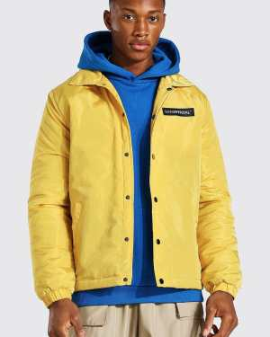 Mens Yellow MAN Official Nylon Coach Jacket, Yellow