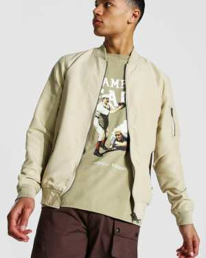 Mens Beige Tall Ma1 Bomber Jacket, Beige