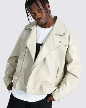 Mens Cream Oversized Biker Jacket, Cream