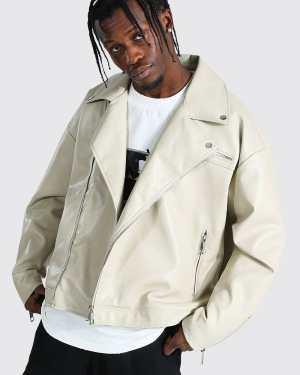 Mens Cream Oversized Biker Jacket, Cream