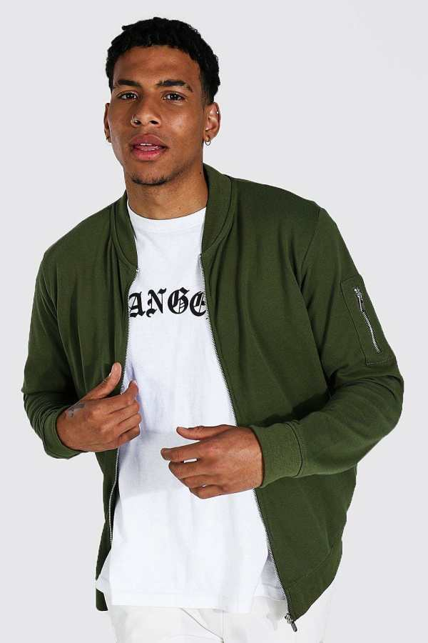 Mens Green Pique Ma1 Bomber Jacket, Green
