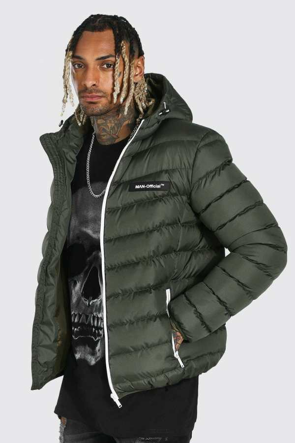 Mens Green Quilted Jacket With Contrast Trims, Green