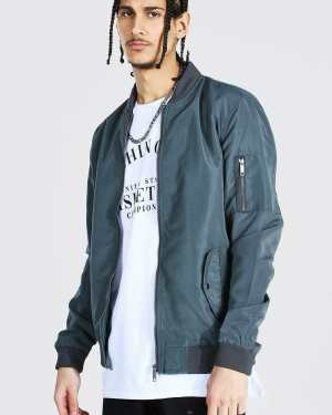 Mens Grey Tall Ma1 Bomber Jacket, Grey