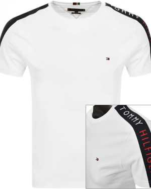 Tommy Hilfiger Logo Sleeve Tape T Shirt White