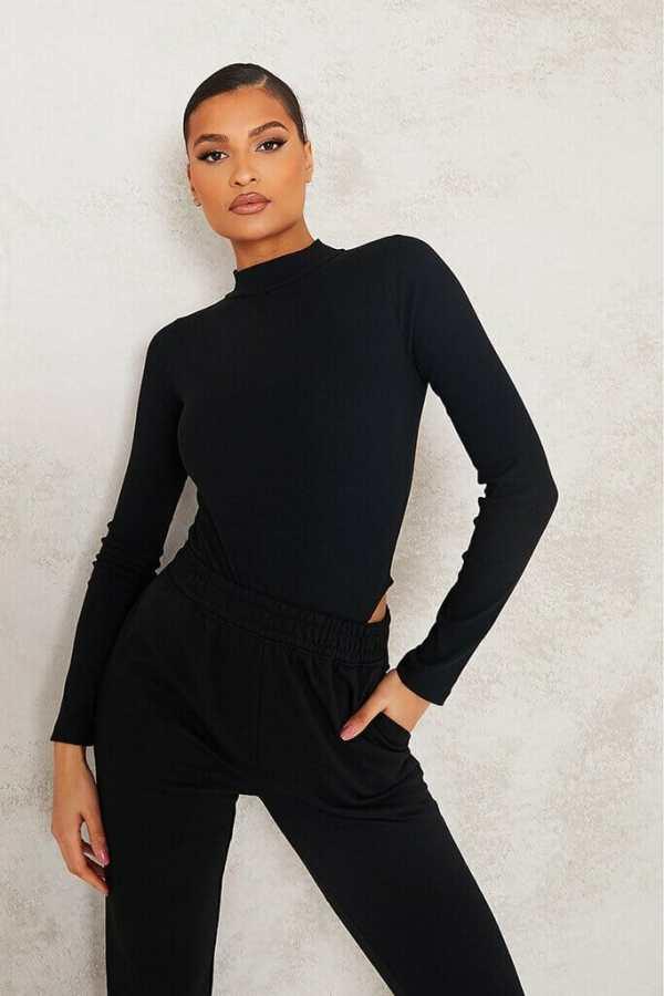 Black Rib High Neck Long Sleeve Racer Bodysuit - 6 / BLACK