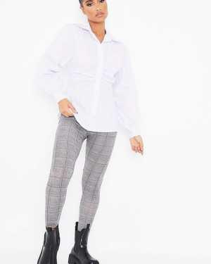 Grey Check High Waisted Leggings - 4 / GREY