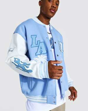 Mens Blue La Badge Jersey Varsity Bomber Jacket, Blue
