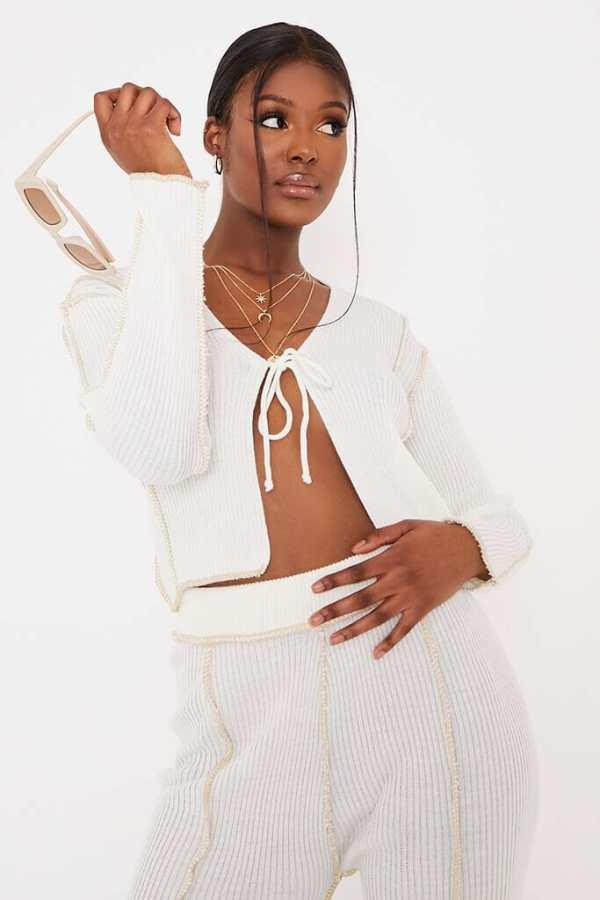 Cream Exposed Seam Tie Cardigan - XXL / WHITE