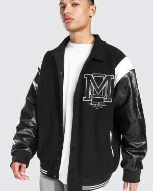 Mens Black Tall Om Harrington Varsity Jacket, Black