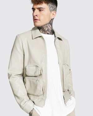 Mens Cream Utility Leather Look Collared Jacket, Cream
