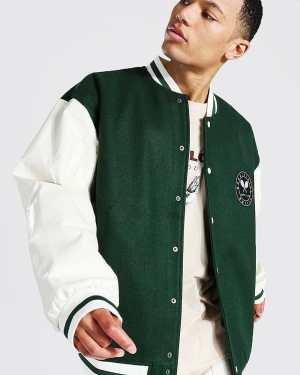 Mens Green Tall Oversized Tennis Badge Varsity Jacket, Green