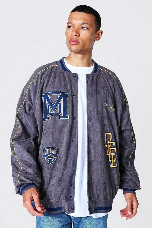 Mens Grey Tall Suedette Varsity Jacket With Piping, Grey