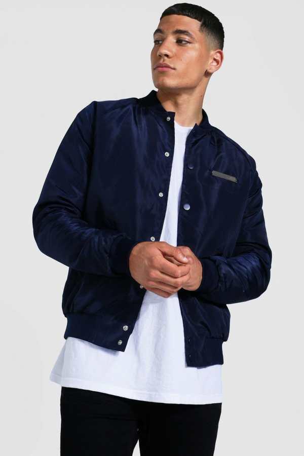 Mens Navy Smart Man Branded Bomber Jacket, Navy