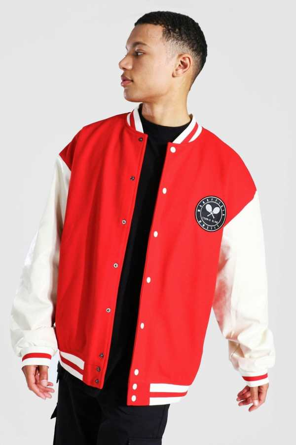 Mens Red Tall Oversized Tennis Badge Varsity Jacket, Red