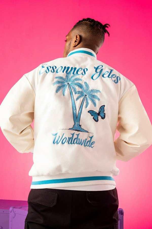 Mens White Oversized Varsity Jacket With Back Palm Print, White