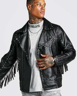 Mens Black Leather Look Studded Fringe Biker Jacket, Black