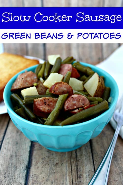 Warm, Filling and Super Easy, this slow cooker sausage, green beans & potato dinner recipe is perfect for those nights when you just need easy!