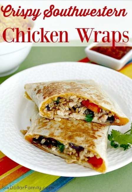 "Crispy chicken, rice, black beans and more come together in this absolutely delicious Crispy Southwest Chicken Wrap recipe! It's a fantastic solution for that pesky ""what to eat"" problem!"