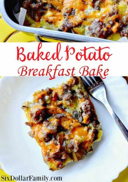 Leftover baked potatoes? Use them to make this yummy breakfast casserole! This baked potato breakfast bake comes together with sausage, eggs,  cheddar cheese and more to make a deliciously easy breakfast recipe the whole family will love!